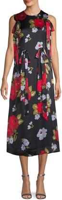 Simone Rocha Floral Sleeveless Midi Dress