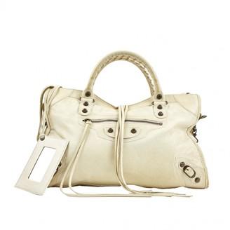 Balenciaga City Ecru Leather Handbags