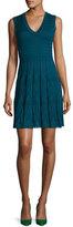 M Missoni Sleeveless V-Neck Pleated Stretch-Knit Dress