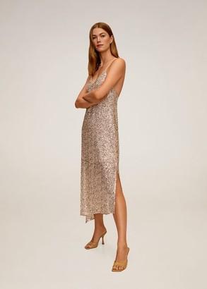 MANGO Asymmetric sequin dress gold - 4 - Women