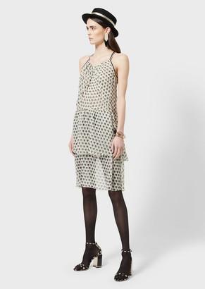 Giorgio Armani Silk-Crepon Dress With 3D Print