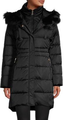 T Tahari Blake Faux Fur-Trim Fitted Puffer Coat