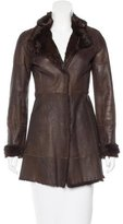 Elie Tahari Fur-Lined Leather Coat