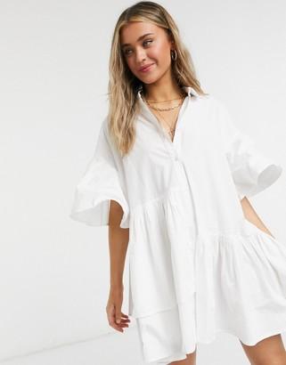 Neon Rose oversized shirt dress with asymmetric hem in cotton