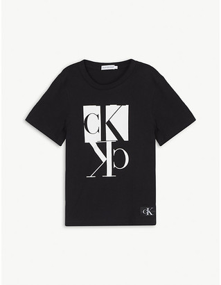 Calvin Klein Jeans Mirror logo print cotton T-shirt 4-16 years