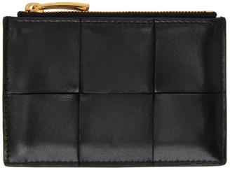 Bottega Veneta Black and Gold Intrecciato Card Holder