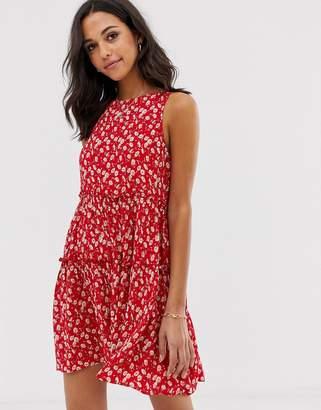 Stradivarius STR ditsy floral sleeveless smock dress in red