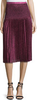 Christopher Kane Pleated Metallic Knit Skirt, Pink