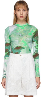 MSGM Green Watercolor Print Long Sleeve T-Shirt