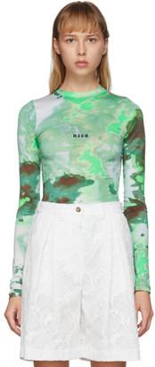 MSGM Green Watercolor Print Long Sleeve T-Shirt