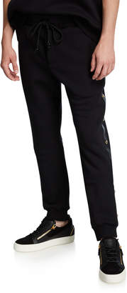 Versace Men's Fleece Jogger Pants w/ Studded Leather Trim
