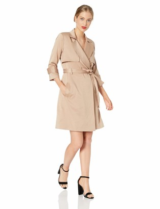 Halston Women's 3/4 Sleeve Satin Trench Shirtdress