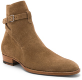 Saint Laurent Suede Wyatt Jodhpur Boots in Brown.