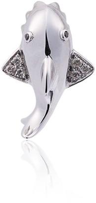 Yvonne Léon 18k White Gold And Diamond Mini Shark Stud