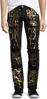 Robin's Jeans Skinny Jeans with Golden Logo Writing, Black