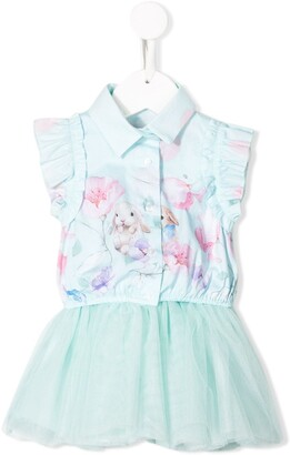 Lapin House Flora Bunny print tutu dress