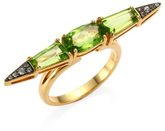 Etho Maria Sharp Green Sapphire and Peridot 18K Gold Ring