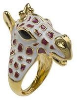Kenneth Jay Lane Women's Gold Plated Gold White Tan Spot Giraffe Head Ring Size - M
