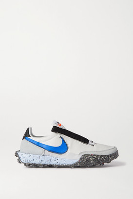 Nike Waffle Racer Crater Leather And Suede-trimmed Shell Sneakers - White