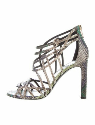 Hermes Snakeskin Cutout Accent Sandals Grey
