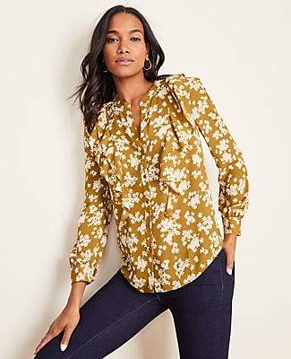Ann Taylor Tall Petaled V-Neck Ruffle Popover Blouse