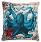 Thro French Coastal Octopus Square Throw Pillow in Blue