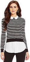 Daniel Cremieux AJ Layered Stripe Knit Top