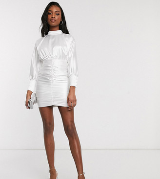 Club L London Tall high neck ruched long sleeve mini dress in white