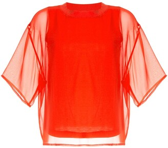 CK Calvin Klein Sheer Short Sleeve Top