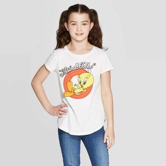 "Looney Tunes Girls' Tweety ""That's All Folks"" Short Sleeve T-Shirt - White"