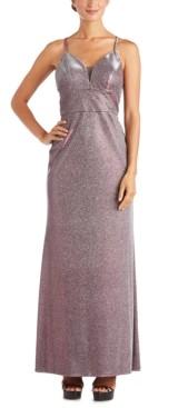 Morgan & Company Juniors' Shimmer Cross-Back Gown