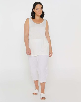 Advocado Plus - Women's White Sleeveless Tops - Essential Short Cami - Size One Size, 14 at The Iconic