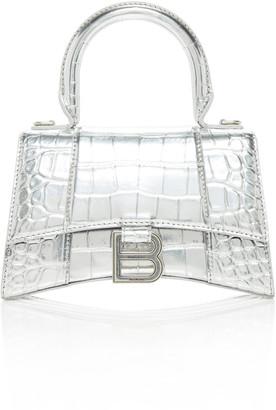 Balenciaga Hourglass XS Embellished Croc-Effect Leather Top Handle Bag