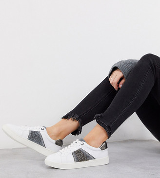 Dune ember white lace up trainers with glitter stripe