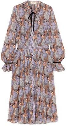 Temperley London Maggie Bow-detailed Printed Georgette Midi Dress