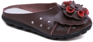 Rumour Has It Women's Mules Brown - Brown Floral Accent Leather Mule - Women