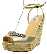 Badgley Mischka Annabel Open Toe Leather Wedge Sandal.
