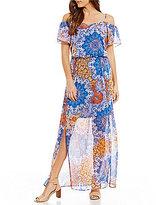 London Times Cold-Shoulder Printed Blouson Maxi Dress