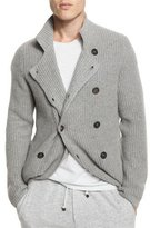 Brunello Cucinelli Double-Breasted Shaker-Knit Cashmere Cardigan, Gray
