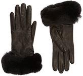 Barneys New York Women's Fur-Cuff Gloves-Black