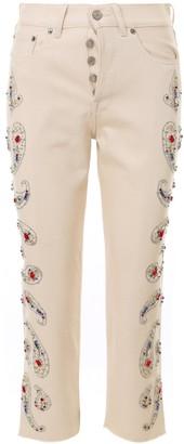 Golden Goose Embellished Cropped Denim Jeans