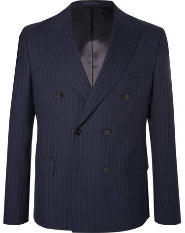 Officine Generale Navy Double-Breasted Pinstriped Wool Blazer
