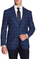 David Donahue Conner Blue Plaid Wool Blend Blazer