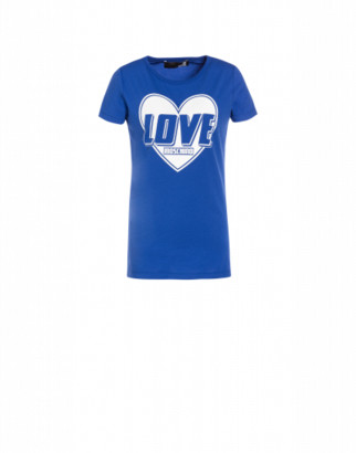 Love Moschino Heart Logo Stretch Jersey T-shirt Woman Blue Size 38 It - (4 Us)