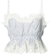 Sacai Striped Lace Silk Crop Top