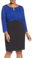 Ellen Tracy Colorblock Sheath Dress (Plus Size)