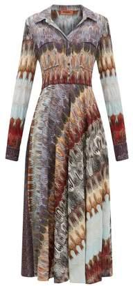 Missoni Metallic-knit Shirtdress - Womens - Blue Multi