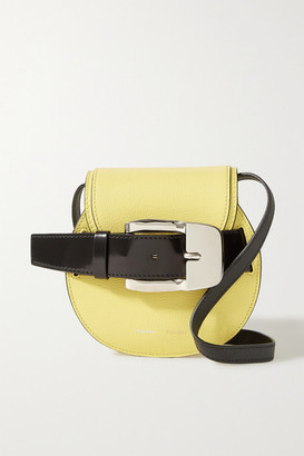 Proenza Schouler Buckle-embellished Textured And Patent-leather Shoulder Bag - Pastel yellow