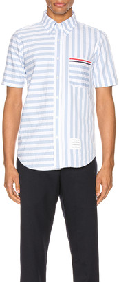 Thom Browne University Stripe Short Sleeve Shirt in Light Blue | FWRD