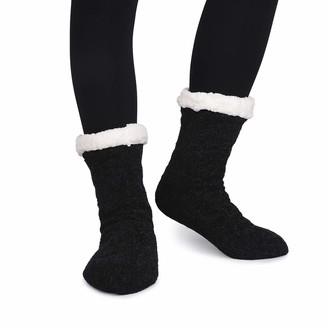 LongBay Women's Cotton Slipper Socks Warm Fluffy Knitted Female Stocking Sock Super Soft Plush Fuzzy Lined Winter Lady Socks with Cute Lurex knitted Pom Pom (4/9 UK